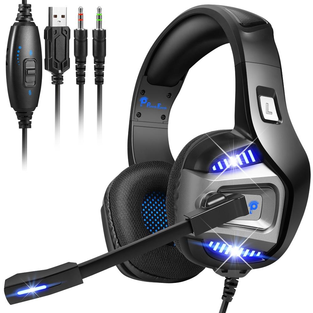 عميق باس ستيريو مصباح ليد سماعات الألعاب ل PS4 PS5 فيفا 21 Xbox كمبيوتر محمول ألعاب سماعات إلغاء الضوضاء سماعة هيئة التصنيع العسكري