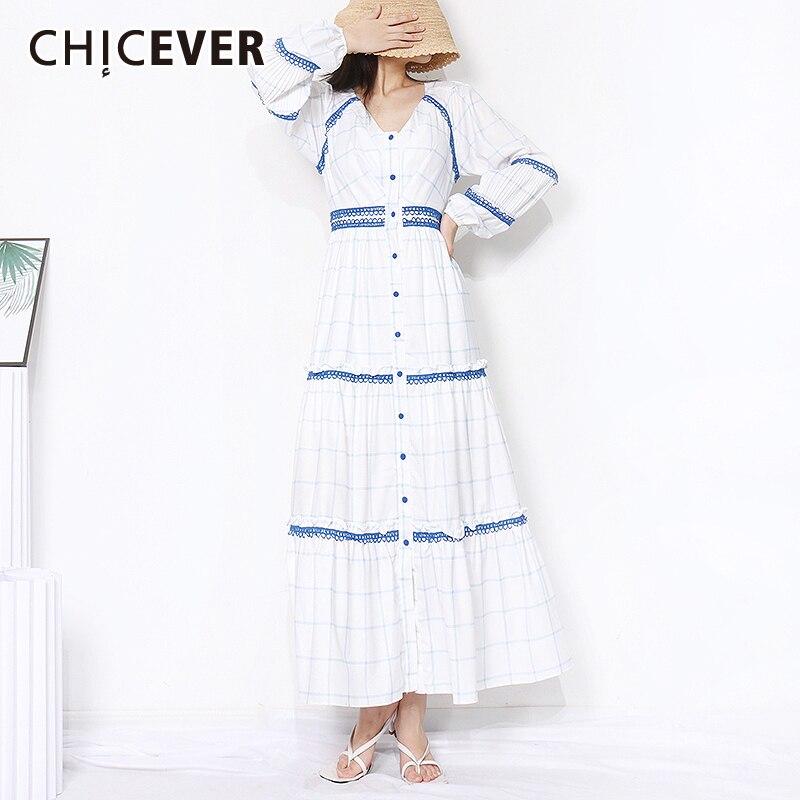CHICEVER أنيقة ضرب اللون منقوشة فستان للنساء الخامس الرقبة طويلة الأكمام عالية الخصر فساتين غير رسمية الإناث موضة جديدة الملابس الخريف
