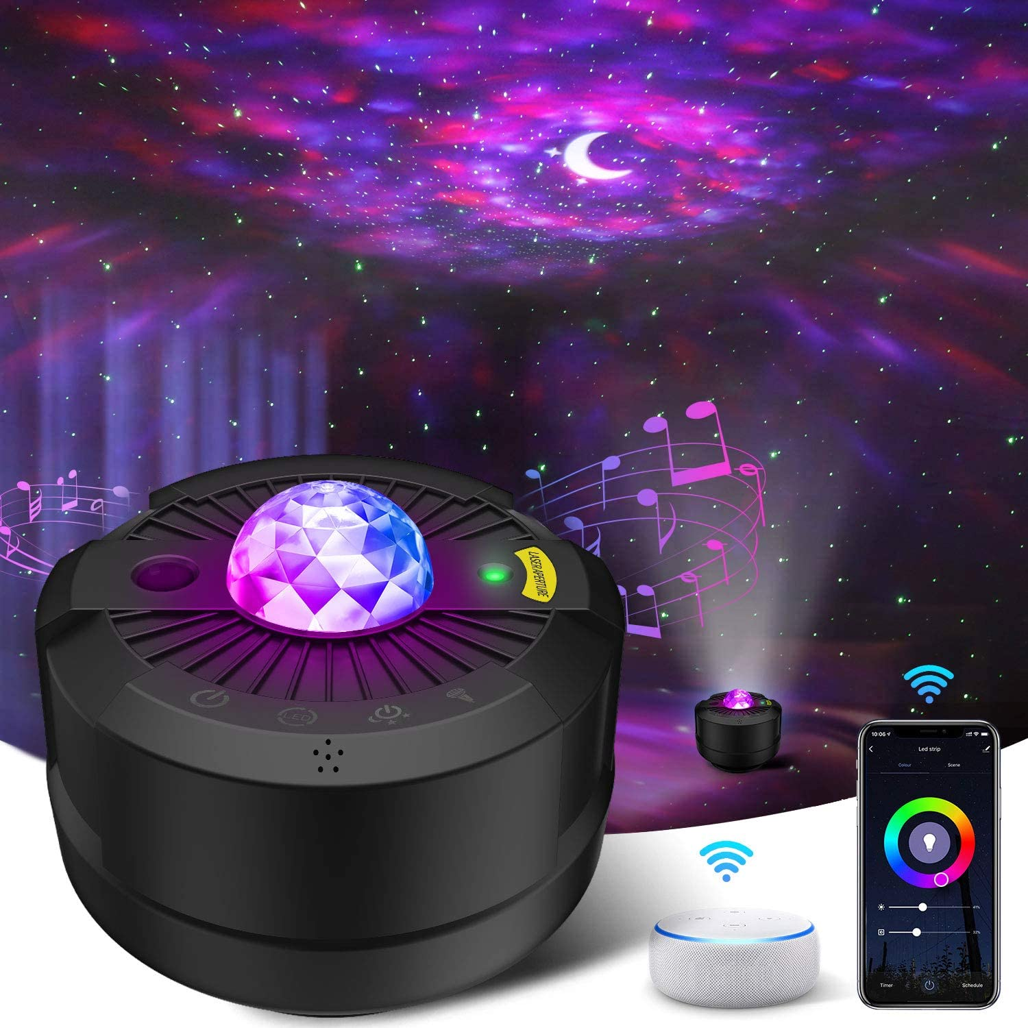 Star Projector Led Night Light Moon Galaxy Projection Bedroom Lighting Smart APP with Remote Control for Baby Kids Gifts