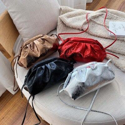 ¡Novedad de 2020! bolsos para mujer, bolsa de cera de color sólido de gran capacidad a la moda, bolsa nube plisada de mujer salvaje, bandolera de hombro, bolsos