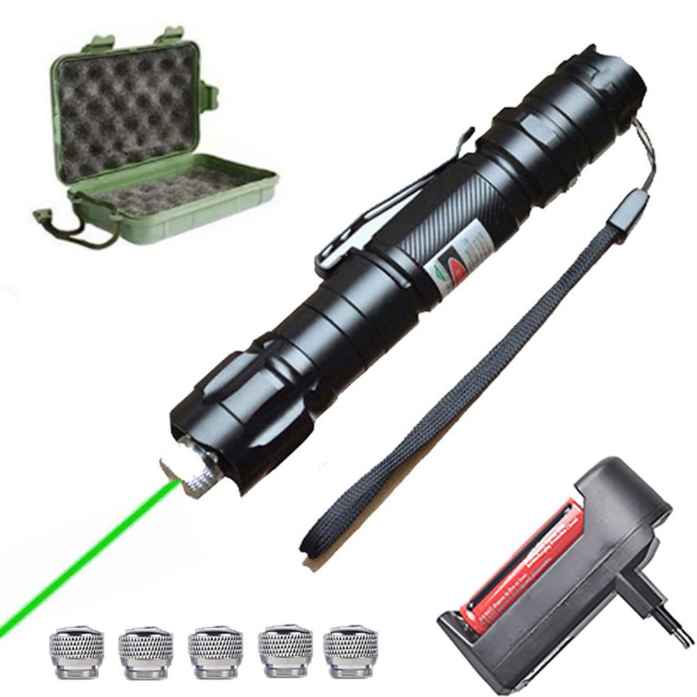 Мощное лазерное оборудование 5 мВт Красная Зеленая лазерная указка 009 с регулируемым фокусом, горящий Лазерный фонарь 10000 м, лазер