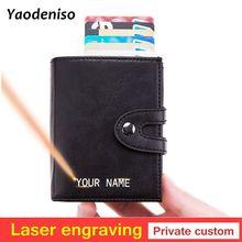 Gravure Laser Hommes Portefeuilles en cuir RFID Blocage Crédit porte-carte Portefeuille En Aluminium avec Sac De Monnaie sac à main avec fermeture éclair Mince Argent Sac