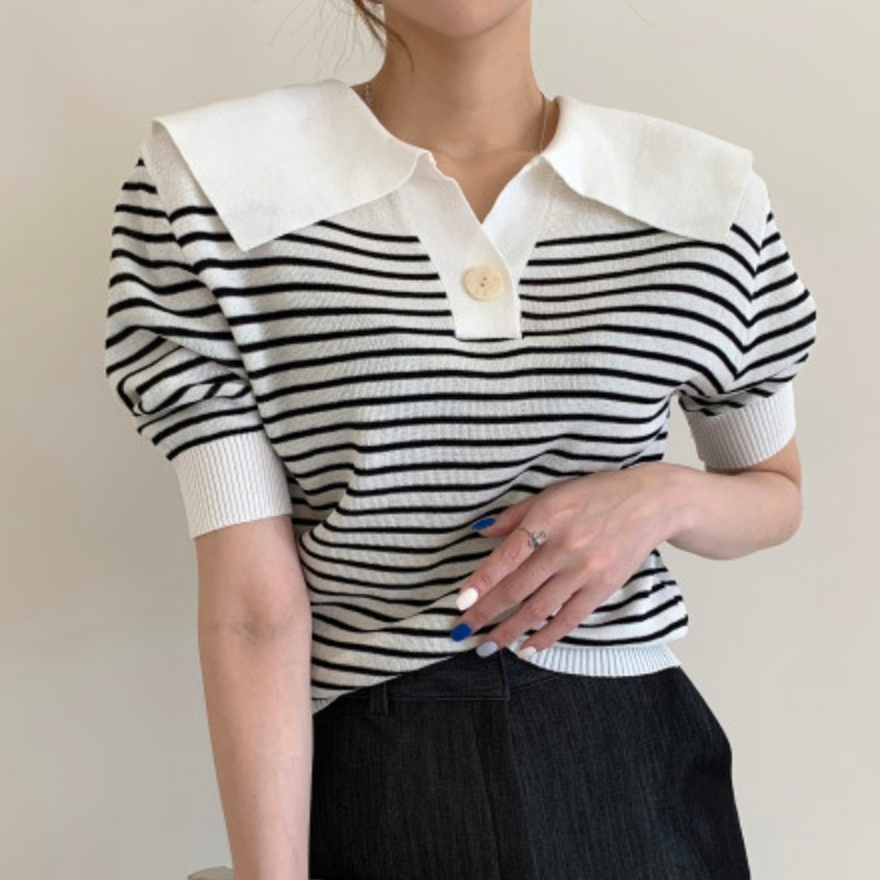 Summer New Anti-Aging Casual Loose Striped Lapel T-shirt Puff Sleeve Versatile Slimming Thin Knitwea