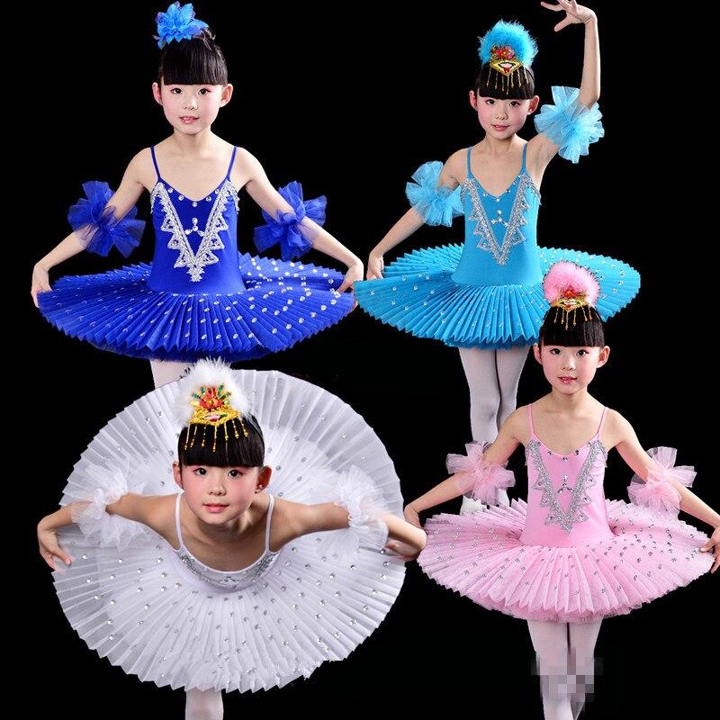 Costumes de robe de danse Tutu de Ballet pour enfants blancs Costumes de Ballet du lac des cygnes
