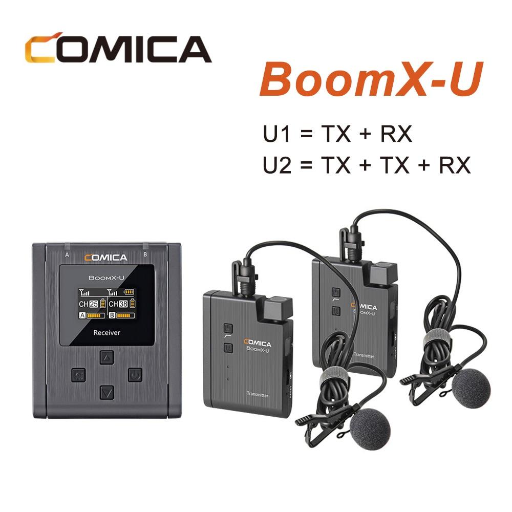 Comica boomx-u Microphone sans fil U1 U2 niveau de diffusion micro Mini transmetteurs UHF Kit récepteur pour appareil photo de téléphone portable DSLR