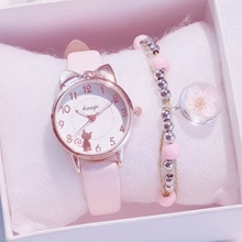 New Girl Quartz Watch Student Children Wristwatch Cat Ears Face Gifts for Kids Girl ulzzang With Box