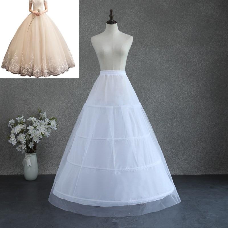 Long Bridal Dress Petticoat Crinoline Underskirt Wedding Dress Prom Dress Hoop 4-Bones White Petticoat Vintage Slips tutu Adult