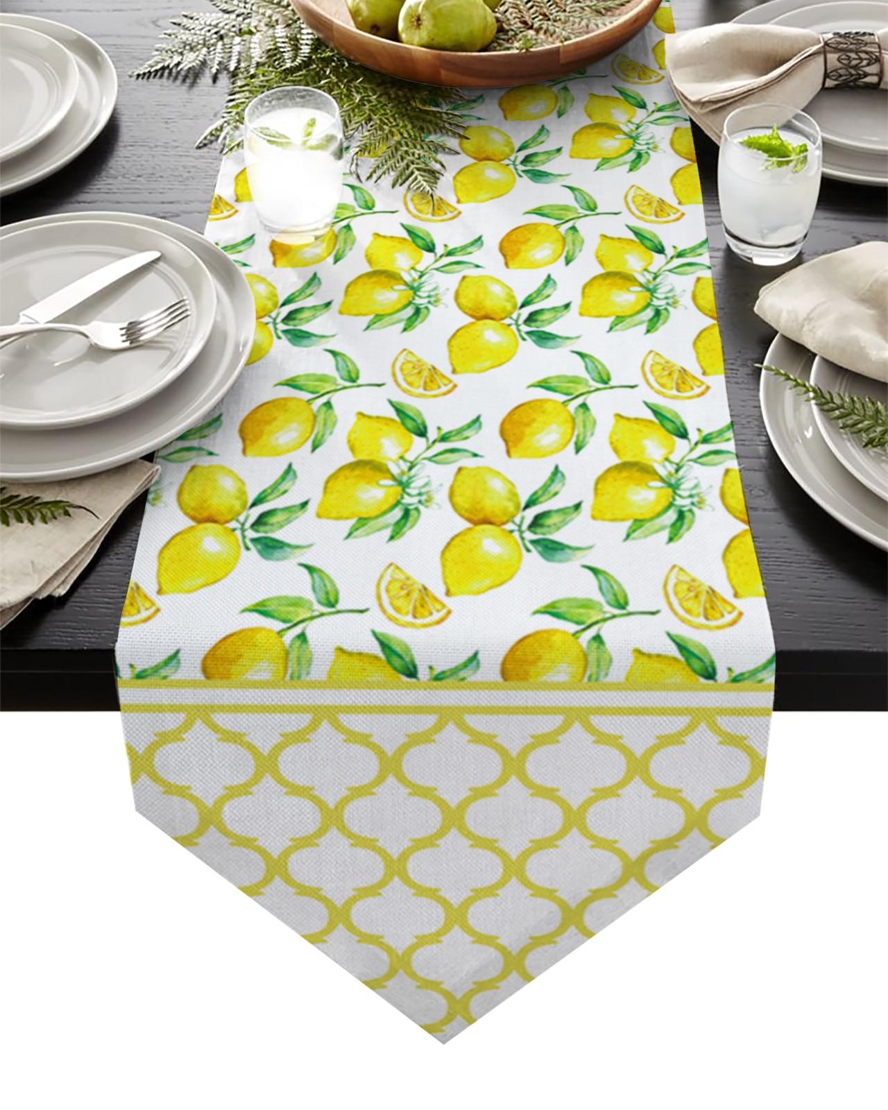 مفرش طاولة بتصميم مغربي ، مفرش طاولة ، زينة للزفاف ، لون الليمون الطازج ، الأصفر ، للمطبخ