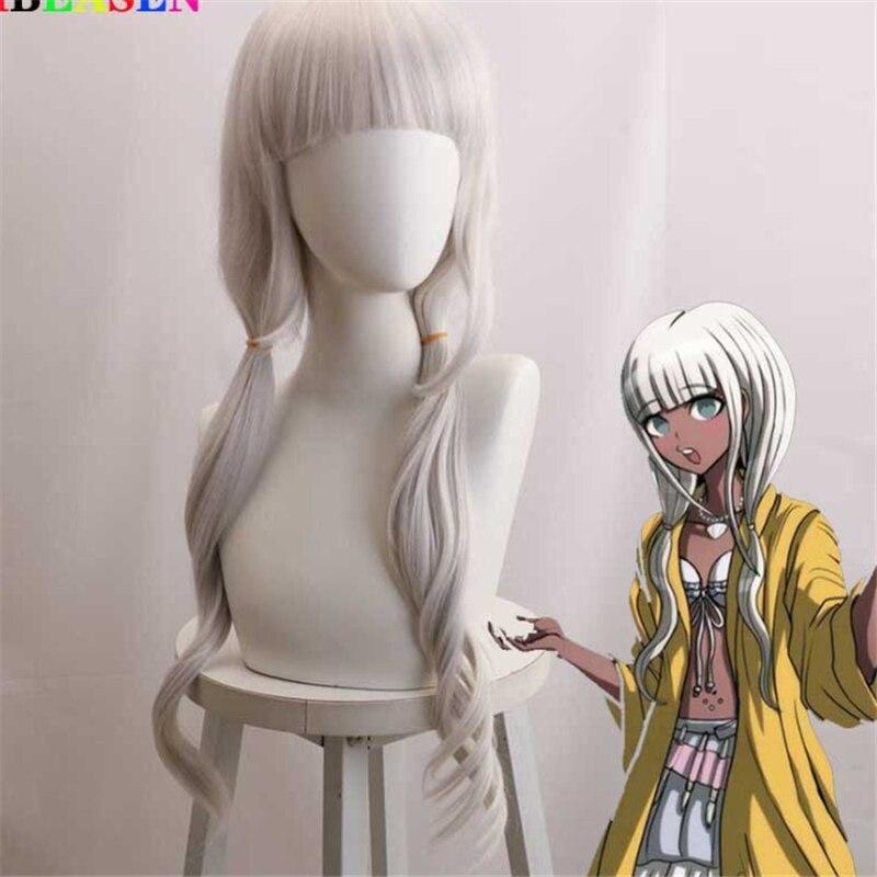 70cm danganronpa gatilho happy havoc perucas cosplay angie yonaga jogando longo puro cor branca cabelo dia das bruxas 11 perucas
