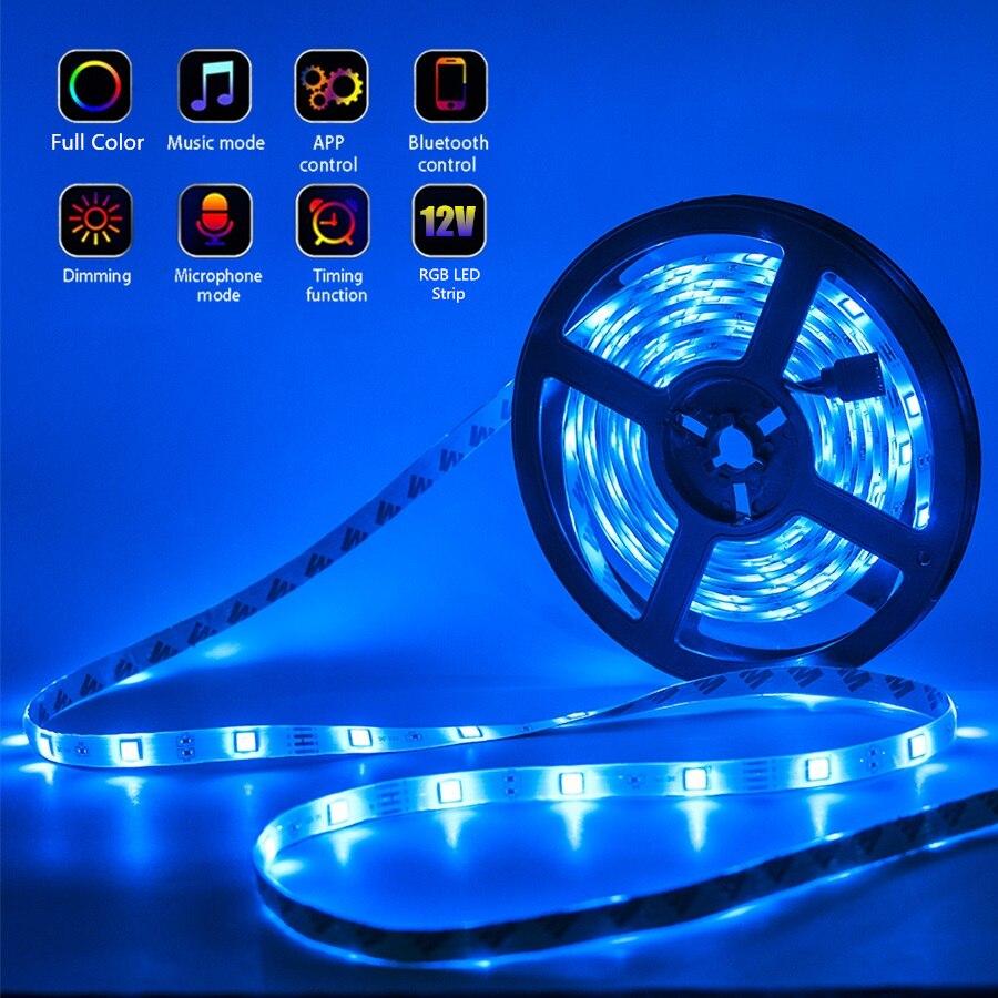 LED Light Strips Bluetooth WIFI Controller Flexible RGB 5050 Decoration BackLight Lamp Night light Luminous String For Bedroom enlarge