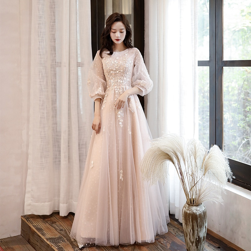 Pink Evening Dress 2020 New Stylish Illusion O-neck Appliques 3D Flower Formal Dress a Line Prom Dre