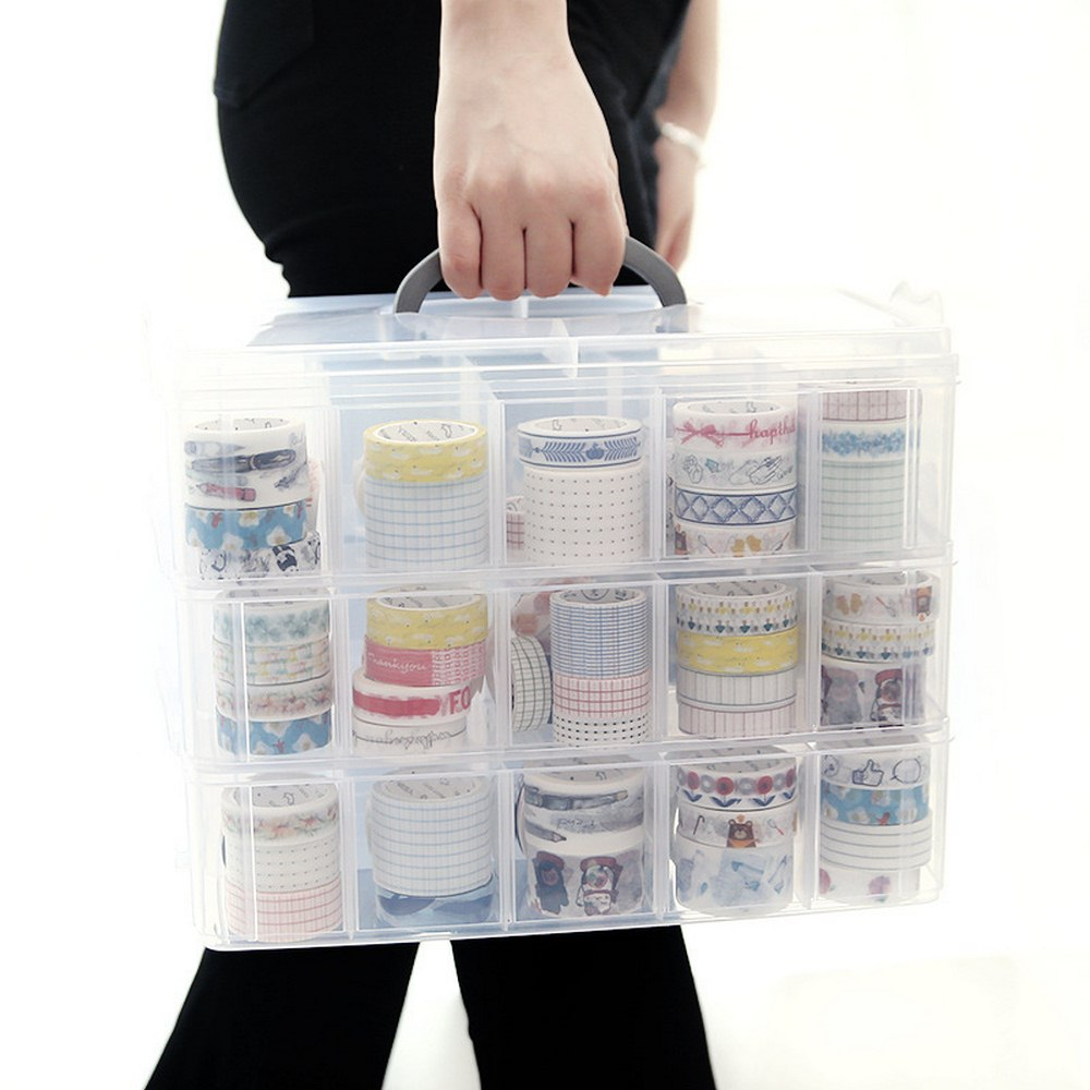 NEW 16/30 Slots 3 Tiers Plastic Makeup Organizer Multi-grid Jewelry Storage Box Toys Organier Storage Case Transparent Suitcase