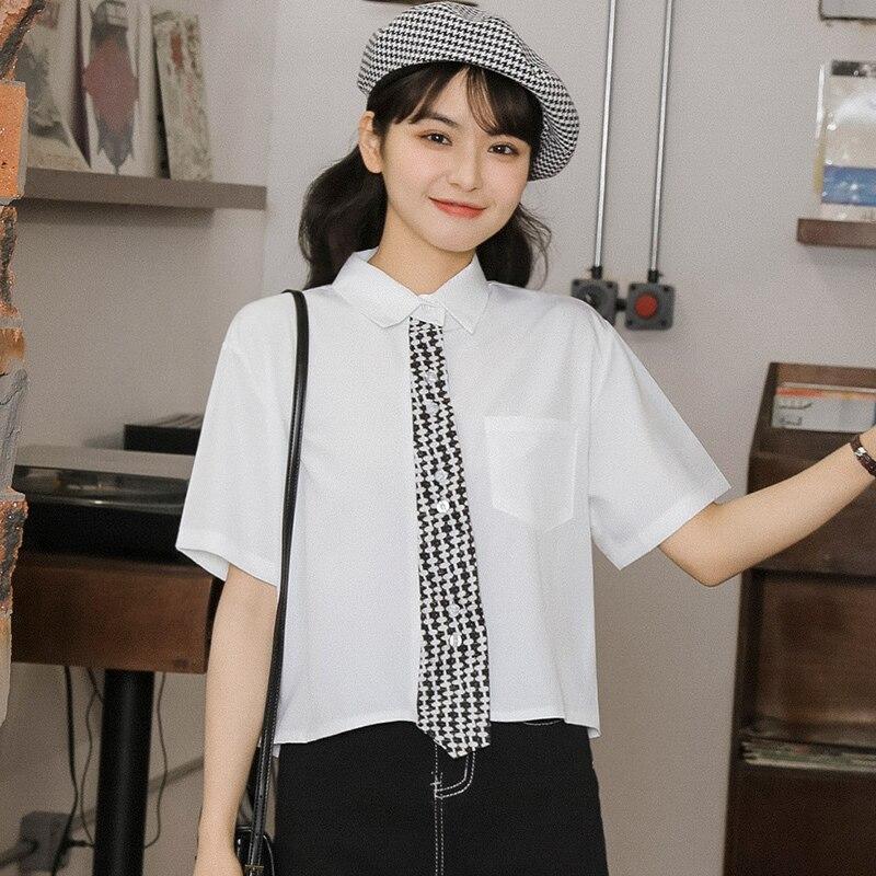 Chic Khaki 2021 Summer New Color Matching Pocket Short Sleeve Shirt Loose Student Short Chiffon Shir