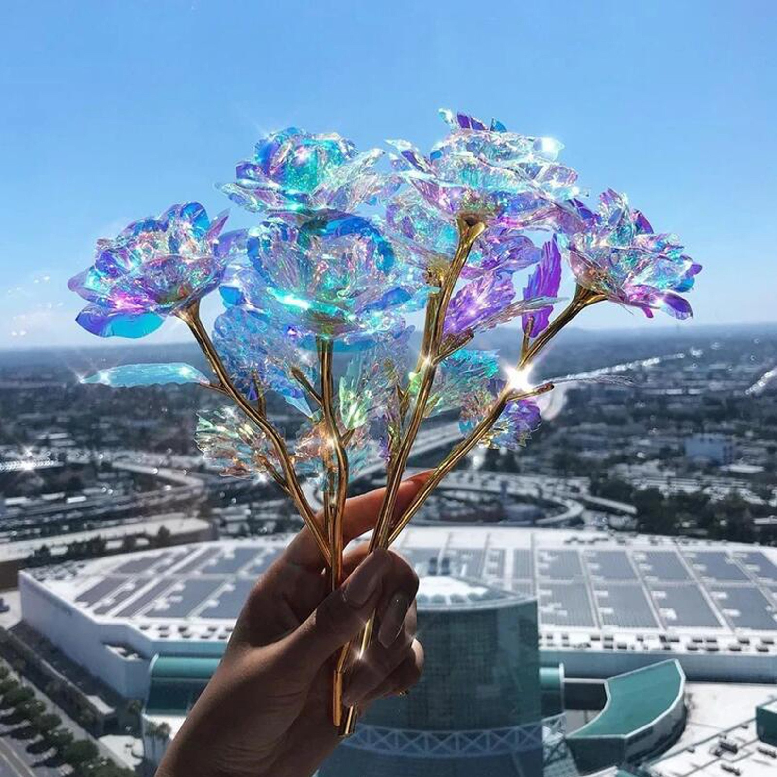 Rosa luminosa De luz Led Artificial para niñas, flores De colores, Regalos...