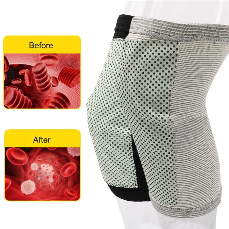1 Pair Tourmaline Self-heating Kneepad Magnetic Therapy Knee Support Knee Brace Belt Knee Massager Pad Fitness Knee Sleeve