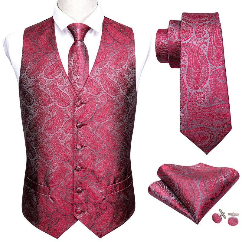 Модный мужской костюм Barry.Wang, красный жилет с узором пейсли, Шелковый жилет с v-образным вырезом и галстуком в клетку, строгий M-2043 для отдыха