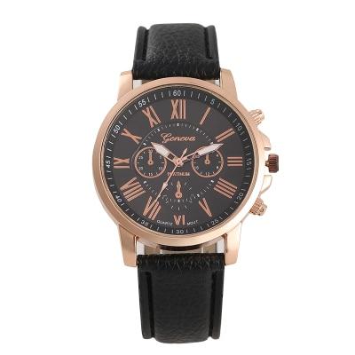 New Fashion Women men Leather Band Quartz Analog Wrist Watch luxury fashion black white gold women w