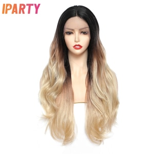 Lace Front Wig Long Black And Blonde Color Synthetic Wigs Natural Wave Hair Daily Cosplay Heat Resistant Fiber For Women IPARTY