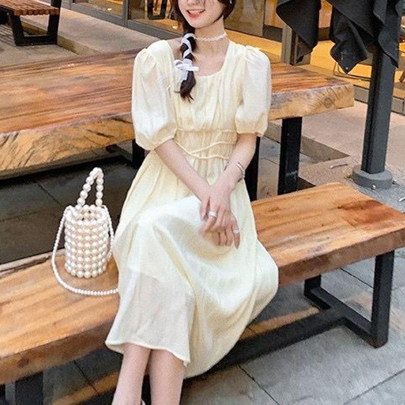 One Piece Dress Female Evening Party Basic Women Casual Short Sleeve Beach Solid Dress Korean 2021 Summer Elegant Midi Dresses