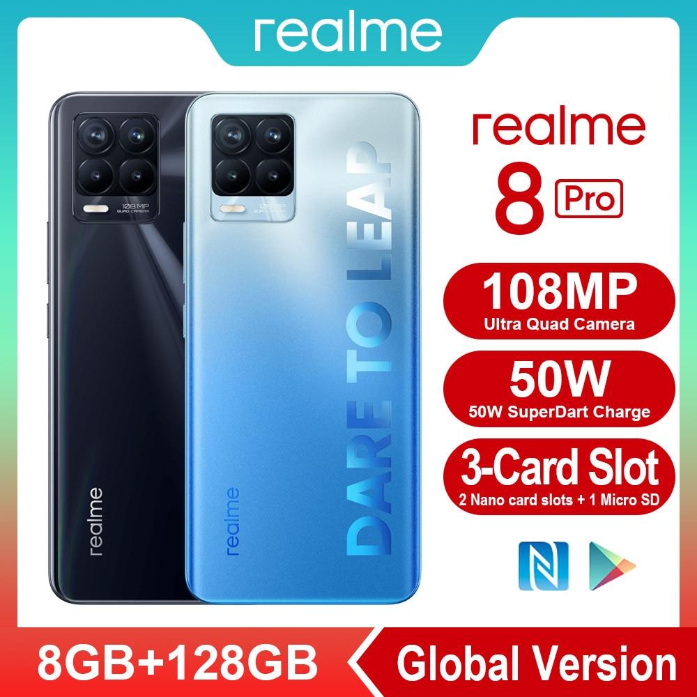 Перейти на Алиэкспресс и купить Смартфон Realme 8 Pro, 6,4 МП, 720 дюйма, 50 Вт, 8 + 128 ГБ