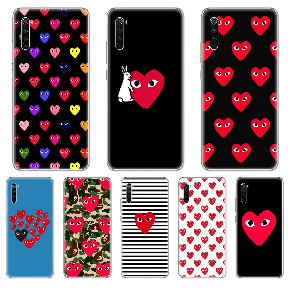 Funda de teléfono con diseño de corazón de melocotón para xiaomi Redmi 3S, 4A, 5A, 6A, 5 Plus, 4X, 7, 8, 8a, CC9, K20 Pro y K30 transparente