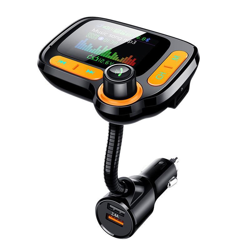Автомобильный модулятор громкой связи Bluetooth 5,0, mp3-плеер с цветным экраном, автомобильный FM-передатчик, быстрое зарядное устройство с двумя ...