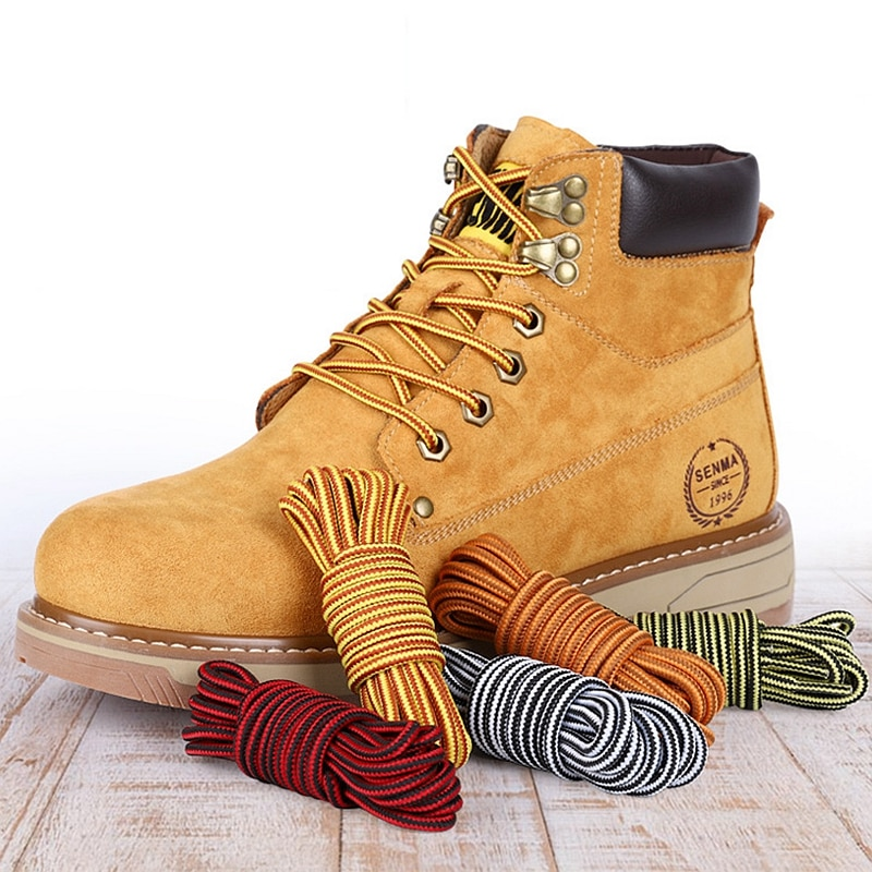 AliExpress - 1Pair Round Boot Shoelaces Striped Sneakers Shoe laces Martin boots Laces Shoes Strings Outdoor Walking Hiking Shoelace