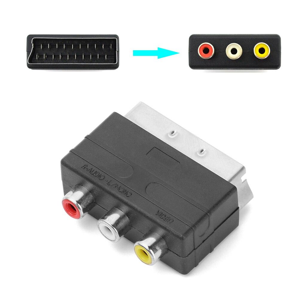 Conector macho cromado niquelado a 3RCA Phono hembra AV TV adaptador de Audio y vídeo entrada para PS4 para W II DVD VCR accesorios