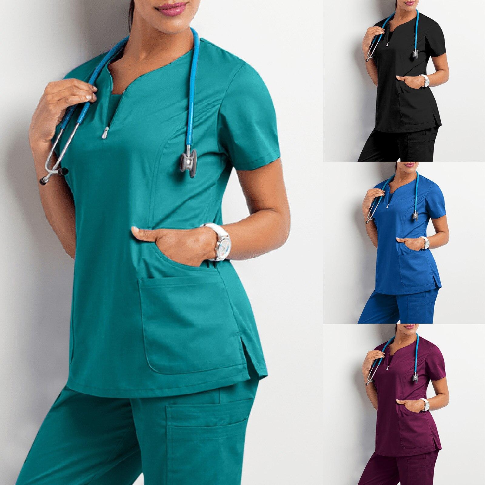 الملابس الطبية للنساء 2021 المرأة قصيرة الأكمام الخامس الرقبة جيب الرعاية العمال قمم تي شيرت الصيف uniformes دي enfermera mujer