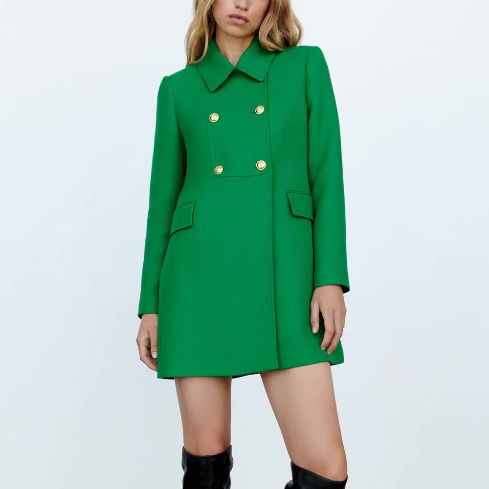 Za Women 2021 موضة جديدة خضراء مزدوجة الصدر معطف نحيل معطف Vintage جيوب طويلة الأكمام الإناث ملابس خارجية أنيقة خندق