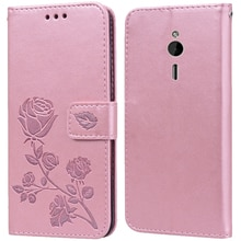 Luxury Leather Flip Book Case for Nokia 230 / 230 Dual SIM Rose Flower Wallet Stand Case Phone Cover