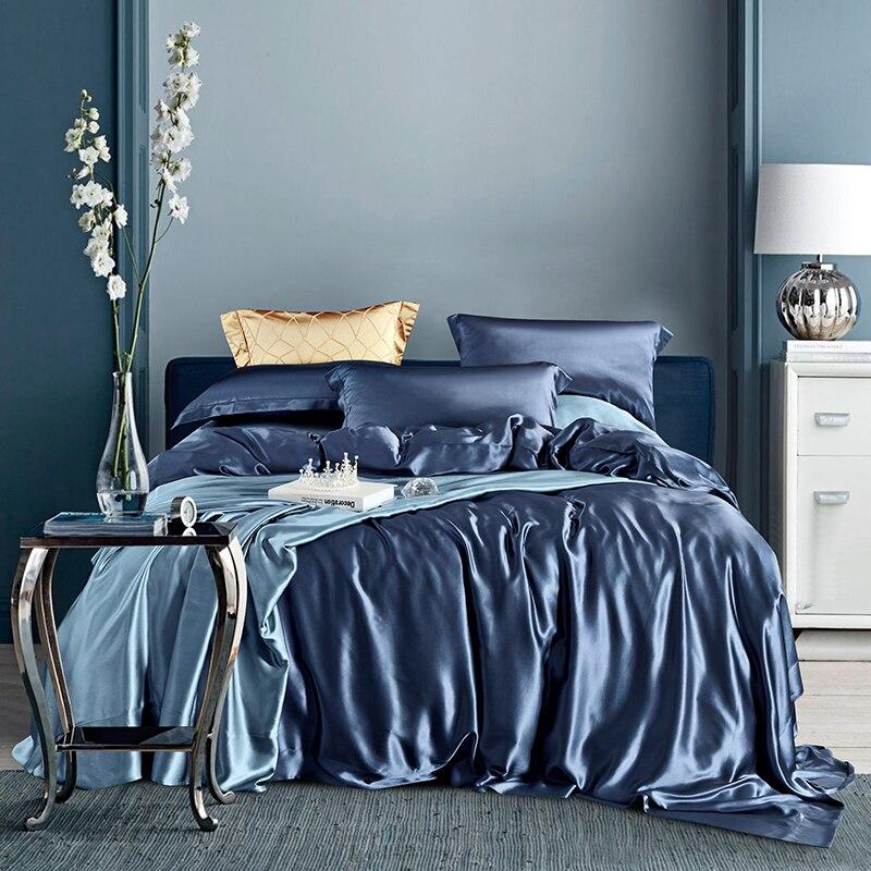 MANSPHIL الفاخرة 100% الحرير 25 المومياء طقم سرير الحرير صحي الجلد الجمال المخدة الكبار غطاء السرير لون نقي أربع قطع مجموعة