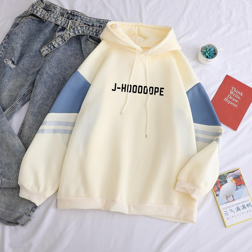 Bangtan Boy Kpop Hoodies Casual Letters J-HOOOOOPE Printed Women Winter Fleece Sweatshirt Hoody Hit Color Patchwork Pullover