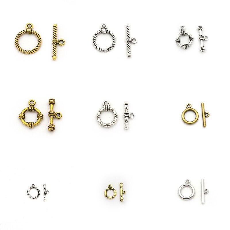 10 conjuntos de sujetadores de flores talladas Retro OT broches de palanca accesorios de bricolaje para hacer joyería encontrar pulsera conector de cadena