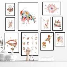 Zähne lippen Ohr Auge Anatomie Wand Kunst Leinwand Malerei Nordic Poster Und Drucke Wand Bilder Für Arzt Büro Decor