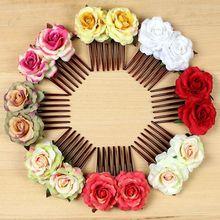 1 pièces fleur Rose peignes à cheveux pour la mode nuptiale à la main bijoux de mariage femmes bal casque charme accessoires de cheveux nouveauté