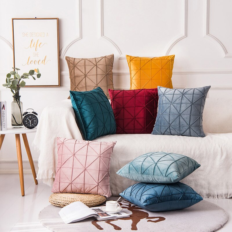 New Art Velvet Yellow Blue Pink Solid Color Cushion Cover Pillow Cover Pillow Case Home Decorative Sofa Throw Decoration 45x45cm 45x45cm home fashion linen sofa cushion cover fabric pillow case solid color cushion decorative