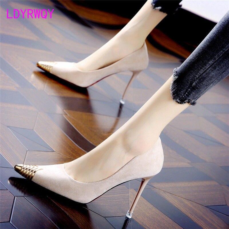 Женские туфли на высоком каблуке, остроносые туфли на шпильке с закрытым носком, в американском стиле, осень 2021