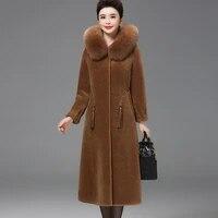 luxury clothes long fur coat fox fur collar hooded granule sheep sheared coat faux fur coats winter large size women 4xl 5xl