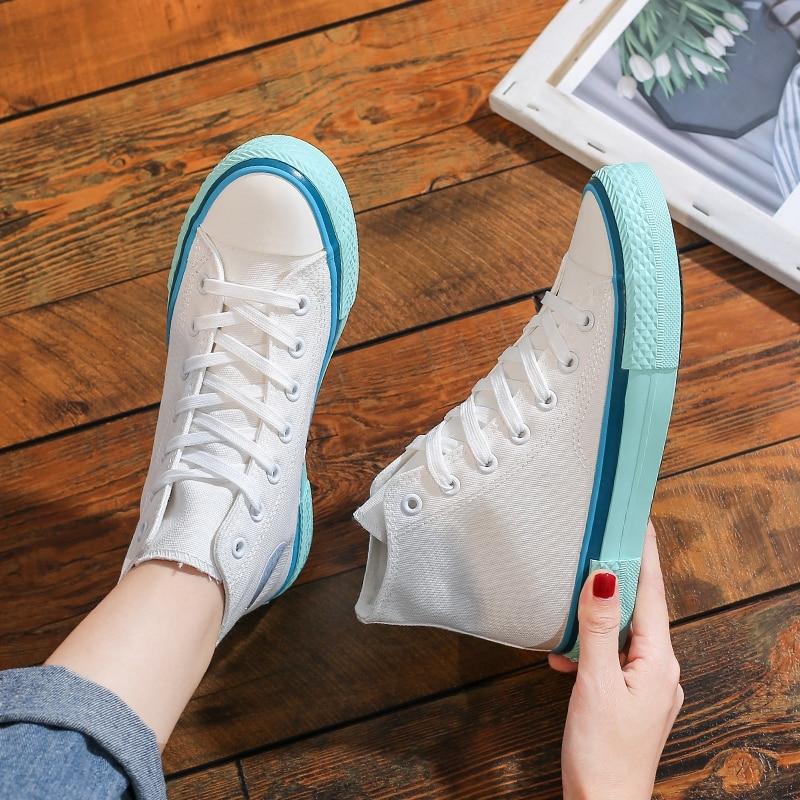 Woman Three Times Vulcanize Shoes Women's Canvas Casual Sneakers Sport Summer Vulcanize High Top 2021 Running Walking Flats