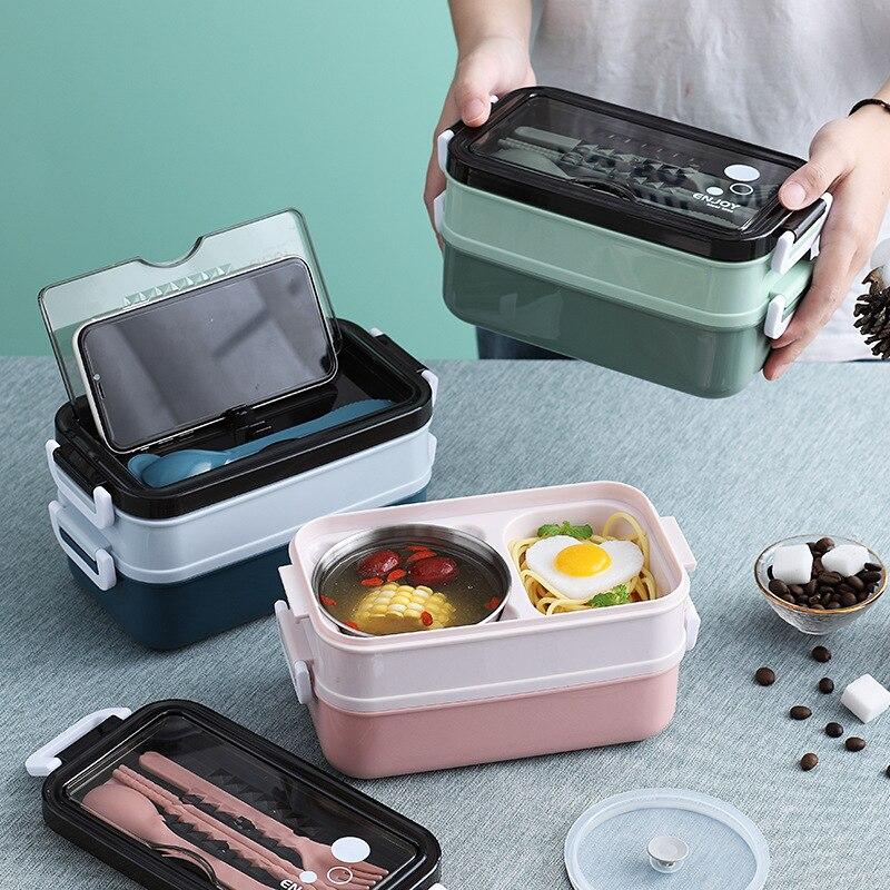 جديد صندوق غذاء وجبة بنتو صندوق للطلاب مكتب عامل طبقة مزدوجة الميكروويف التدفئة حاوية لحفظ طعام الغذاء الغذاء تخزين الحاويات