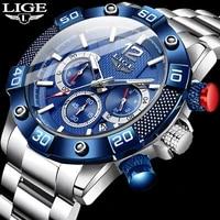 reloj hombre 2020 lige sports luminous waterproof quartz watches mens full steel military diving calendar watch for men with box