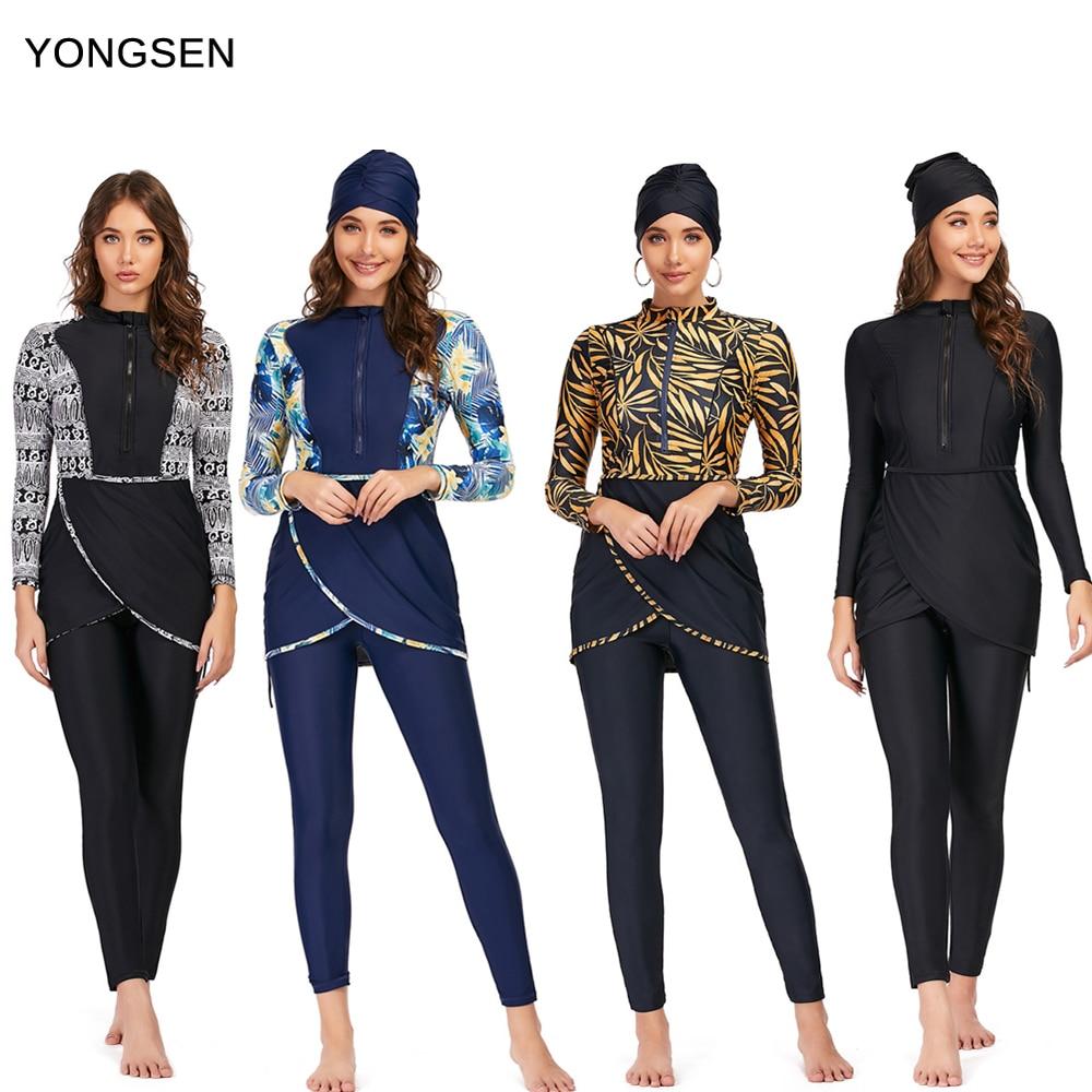 YONGSEN 2020 Women Plus Size Muslim Swimsuit Burkinis Modest Clothing Islamic Long Sleeves Muslimah Hijab Full Cover Swimwears