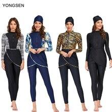 YONGSEN 2020 Women Plus Size Muslim Swimsuit Burkinis Modest Clothing Islamic Long Sleeves Muslimah