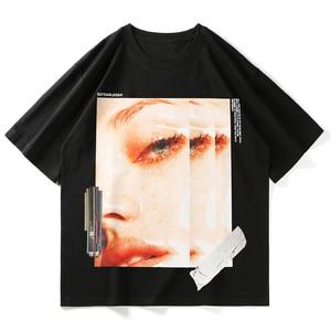LACIBLE Men Harajuku T Shirt Girl Portrait Print Hip Hop T-Shirts Streetwear 2021 Summer Short Sleeve Tshirt Cotton Tops Tees