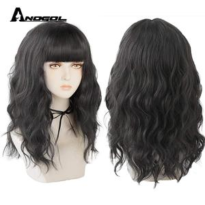 ANOGOL WIGS Black Deep Wave Wig With Bangs for Women Lolita Wig Short Hair Layered Heat Resistant Cosplay Party Synthetic Wig