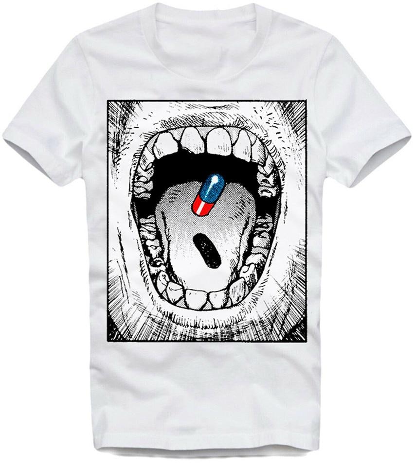 Camiseta E1Syndicate Akira Pill rojo azul psicodélico matriz Manga Psychonaut Cool regalo camiseta de personalidad