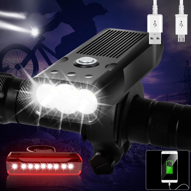 5200mAh Bicycle Light L2/T6 USB Rechargeable Bike Lights IPX5 Waterproof LED Headlight Ans Rear Lamp Power Bank Bike Accessories