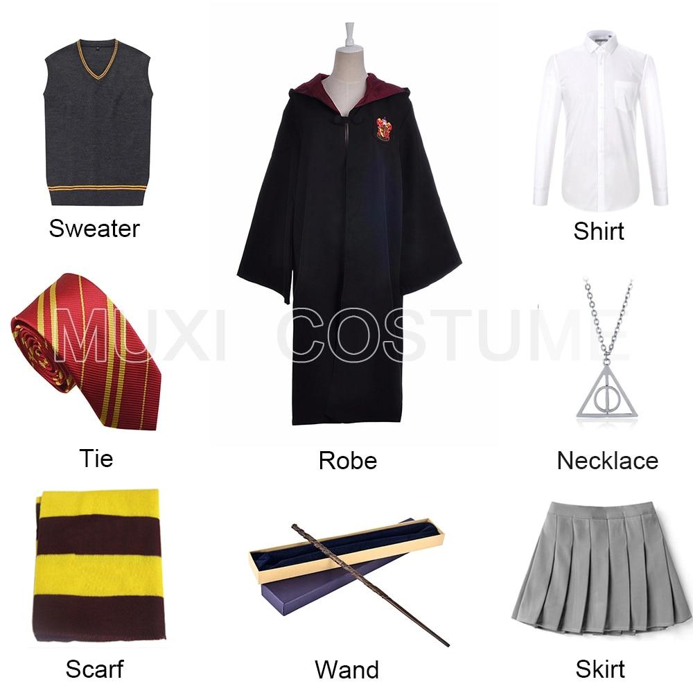 Full Set Hermione Granger Cosplay Robe Cloak Skirt Sweater Shirt Scarf Tie Wand Necklace Harris Costume