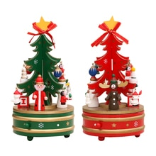 Funny Rotating Musical Box Kids Gifts Christmas Decor Tree Wooden Music Box Home Desktop Decorations